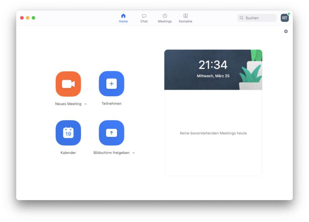 Zoom - Startbildschirm