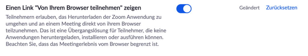 Zoom - die Teilnahmemöglichkeit per Browser aktivieren