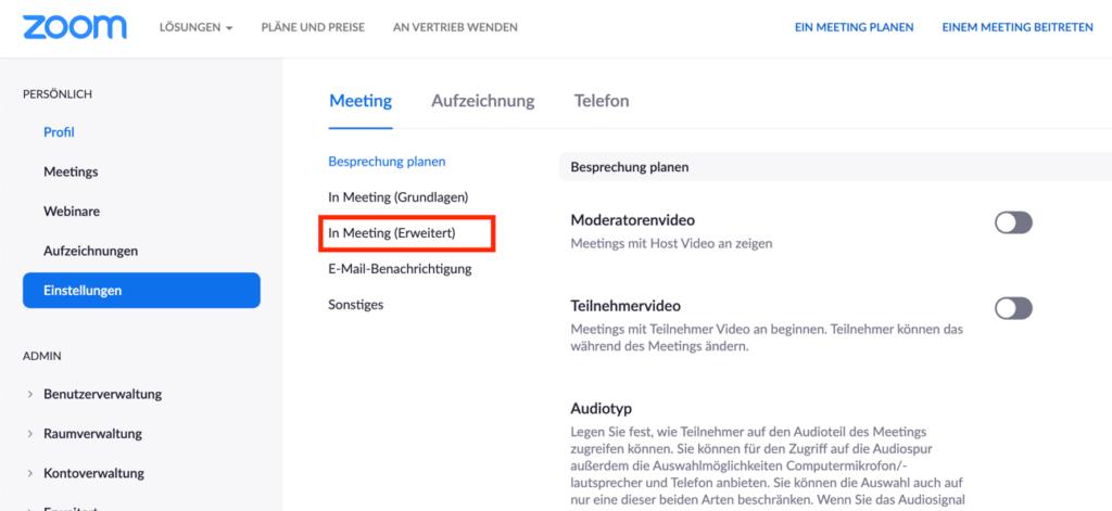 "Kategorie ""In Meeting"" auswählen"