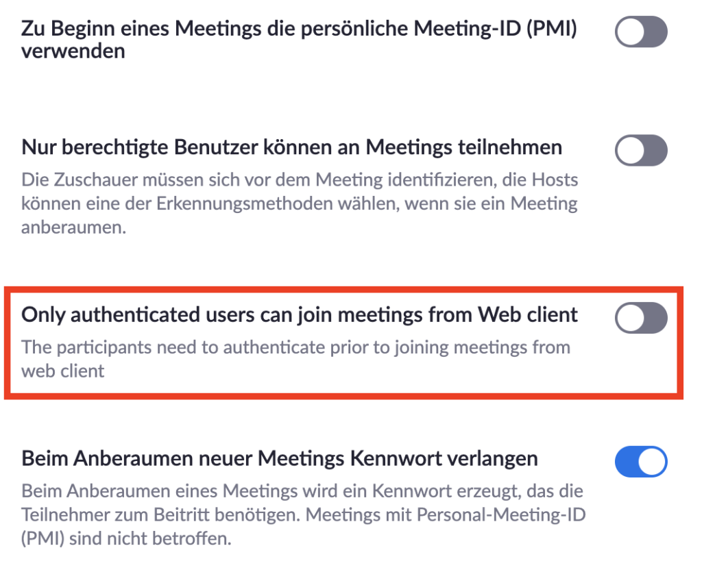 Zoom im Browser - Anmeldung für Teilnehmer deaktivieren - Teil 2