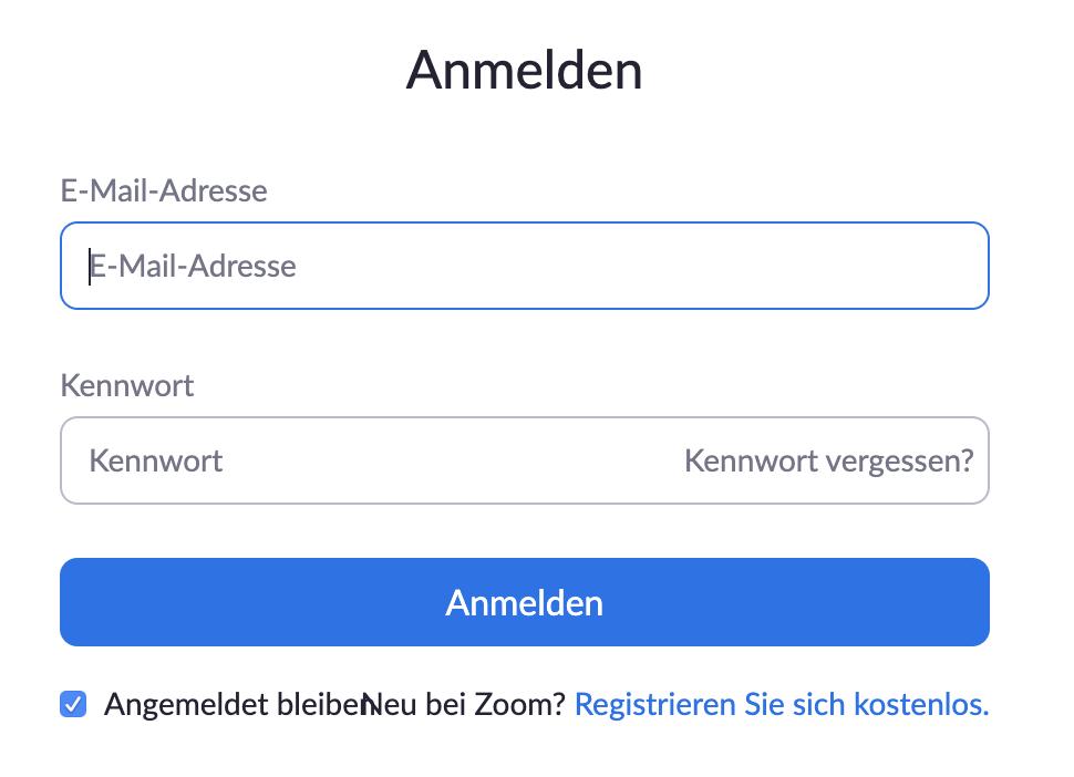 Zoom Web Client Anmeldung