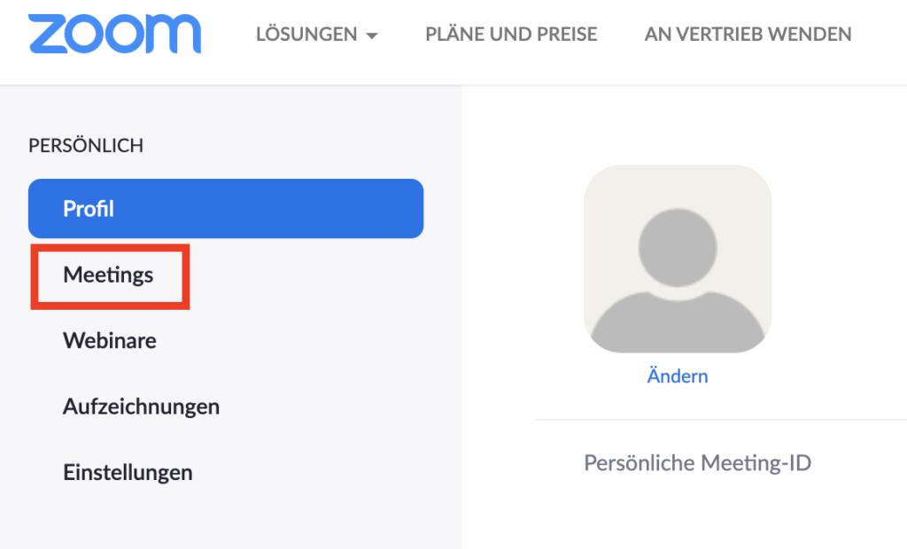 Zoom im Browser - Meetings
